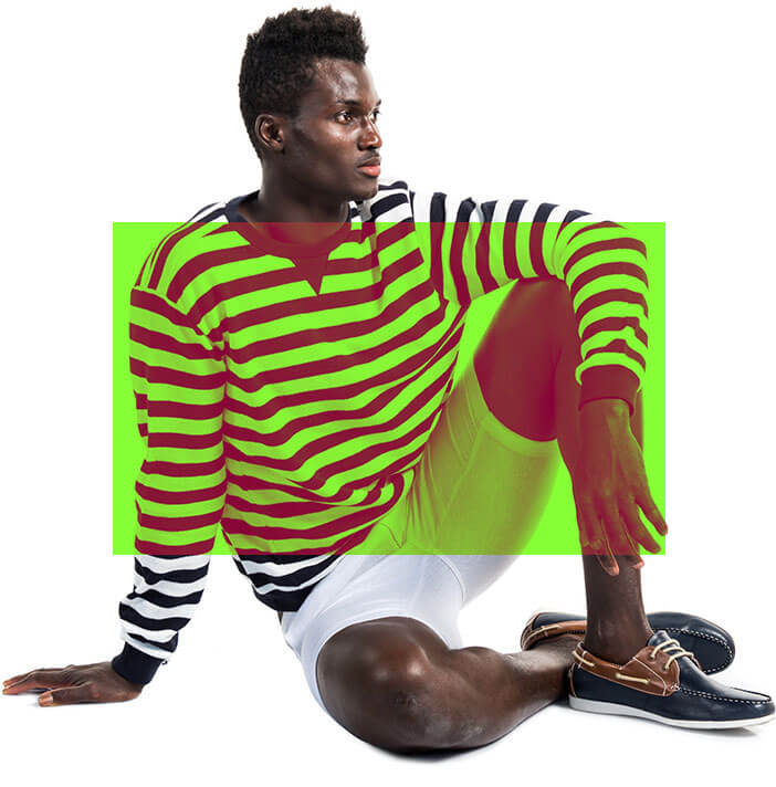 Man Sitting Striped Shirt - Full Color Printing Services - Roseville Printing California
